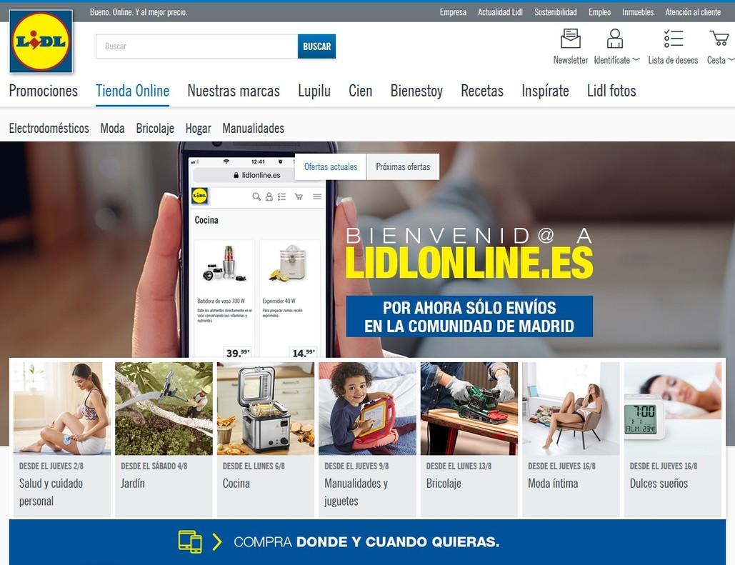 La tienda 'on line' de Lidl.