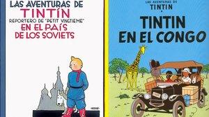 Portadas de los cómics 'Tintín en el país de los soviets' y 'Tintín en el Congo'.