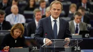Tusk, en el Parlamento Europeo, en Estrasburgo, el 24 de octubre.