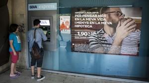 Una oficina bancaria en Barcelona.