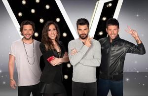 Manuel Carrasco, Malú, Juanes y Pablo López (izda. a dcha.), coachesde La voz.
