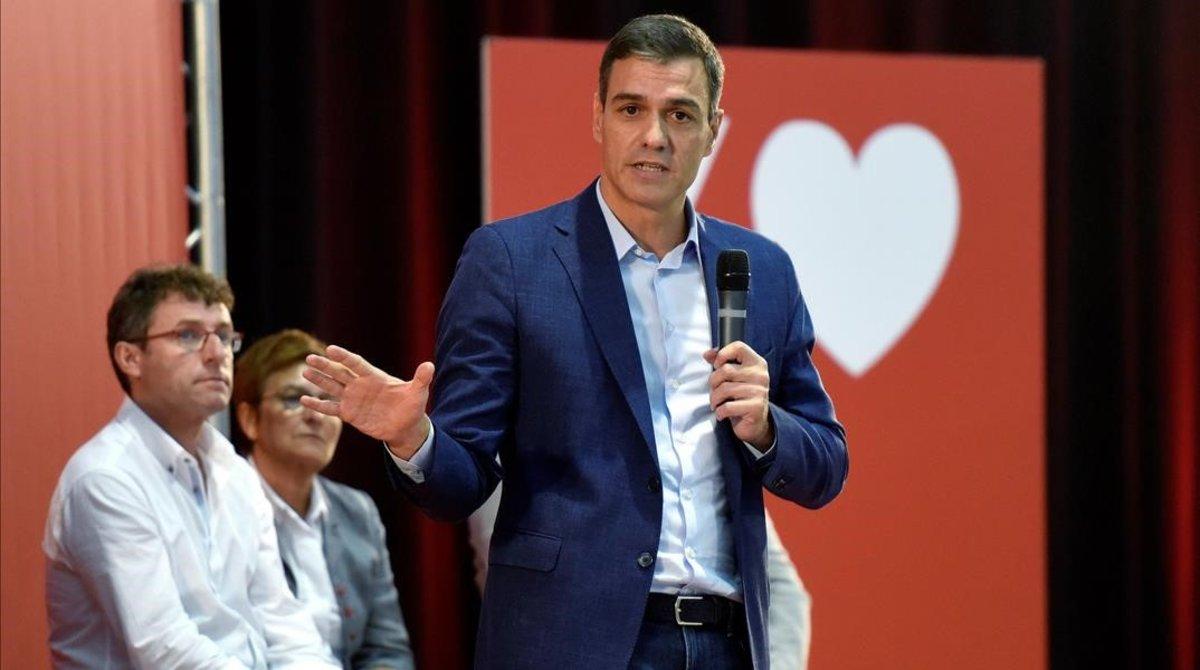 Pedro Sánchez, este martes, durante un mitin celebrado en Huesca.