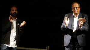 Marcel Mauri y Quim Torra durante elactode conmemoración de la Marxa dels Vigatans de Vic.