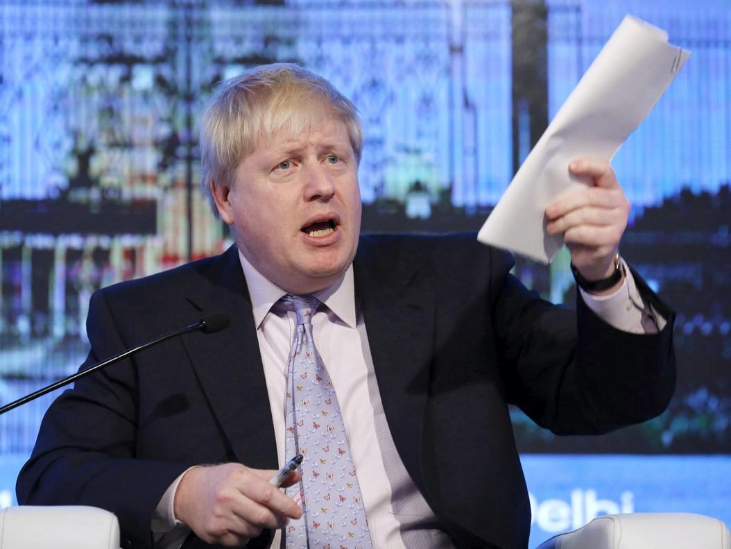El secretario británico de Exteriores, Boris Johnson, asiste a un evento en Nueva Delhi.