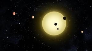 Simulación de exoplanetas alrededor de un sol.