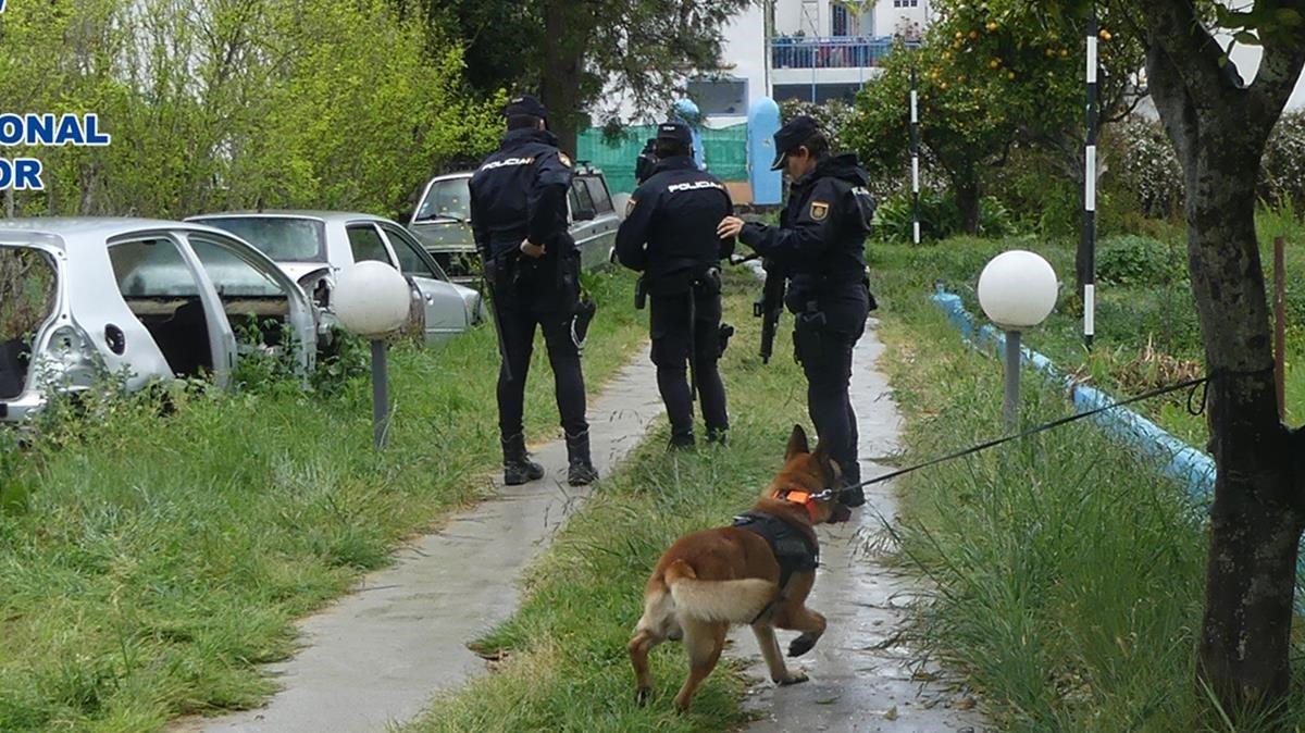 Agentes de la Policía Nacional durante la operación contra el tráfico de personas inmigrantes en el Estrecho.