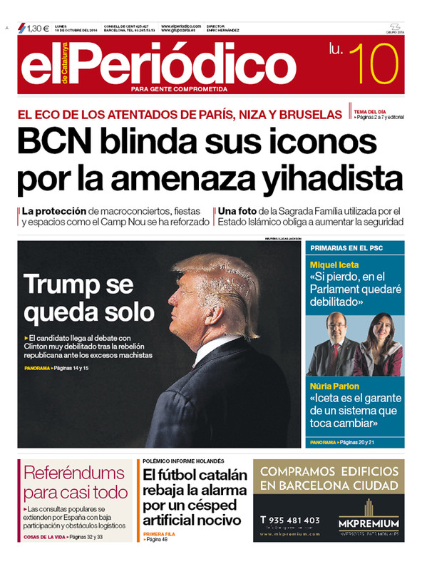 La portada de EL PERIÓDICO del 10 de octubre del 2016