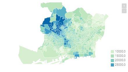 El mapa de la renta por persona en Barcelona, calle a calle