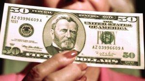 Billete de 50 dólares con el retrato del 18º presidente de EEUU, Ulysses S. Grant.