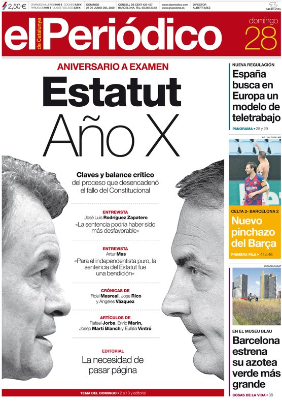 La portada de EL PERIÓDICO del 28 de junio del 2020