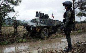 Efectivos del Ejército de Colombia en la frontera con Venezuela.