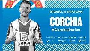 Sébastien Corchia, en el fotomontaje oficial del Espanyol.