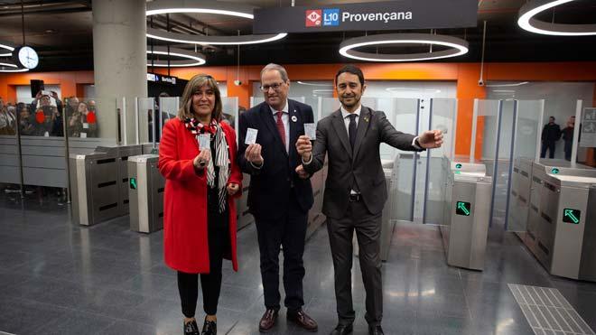 Declaraciones de Quim Torra, Núria Marín y Damià Calvet en la inauguración de la estación de metro de Provençana de la L10 Sud.
