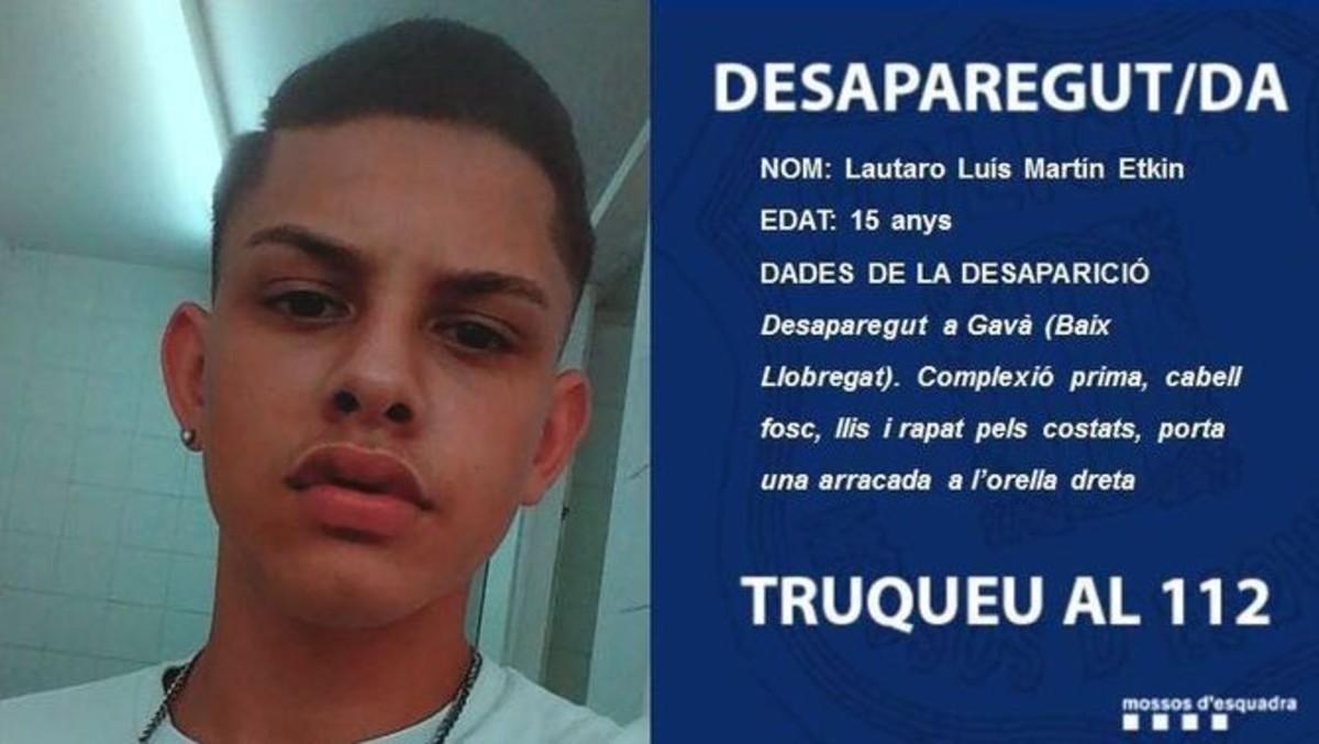 Lautaro Luís Martín Etkin, chico desparecido en Gavà.