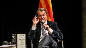El expresidente de la Generalitat Artur Mas, en la presentación de su último libro, en Barcelona.
