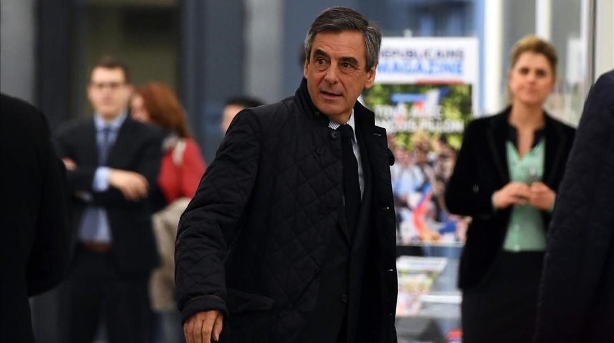 Fillon, a su llegada a la sede de Los Republicanos.