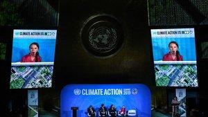 Greta Thunberg hablando en la ONU.