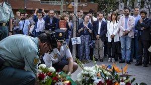 El homenaje a las víctimas de Hipercor que se ha celebrado este miércoles en Barcelona con motivo del trigésimo segundo aniversario del atentado.
