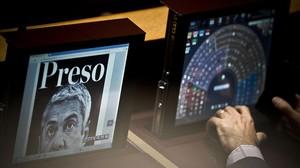 Imagen del exprimer ministro Sócrates en el ordenador de un diputado este miércoles en Lisboa.