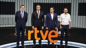 Imagen del último debate a cuatro de los candidatos principales a la presidencia del Gobierno.