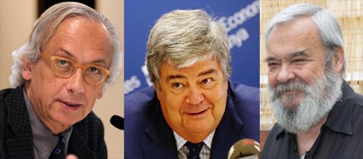 El investigador Bonaventura Clotet, el economista GuillemLópezCasasnovas y el actor Carles Canut, tres de los galardonados con la Creude Sant Jordi 2016 por el Govern.