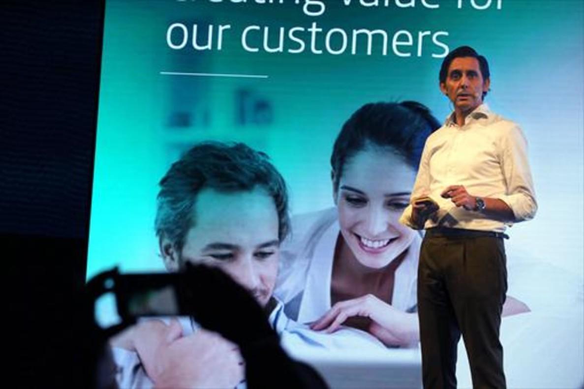 José María Álvarez-Pallete, presidente ejecutivo de Telefónica, ayer, en un acto previo al congreso.
