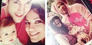 Ashton Kutcher y Mila Kunis, con su hija Wyatt.