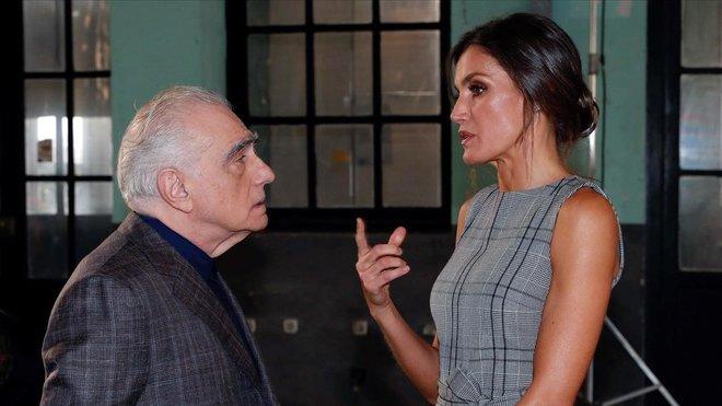 Letizia con Martin Scorsese, hoy en Oviedo.