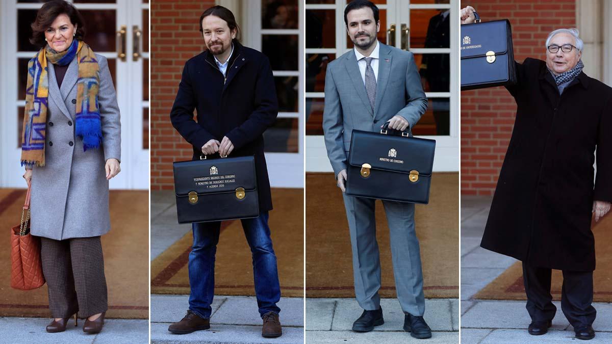Los 22 ministros de Pedro Sánchez llegan a la Moncloa para el primer Consejo de Ministros. En la foto, Carmen Calvo, Pablo Iglesias, Alberto Garzón y Manuel Castells.