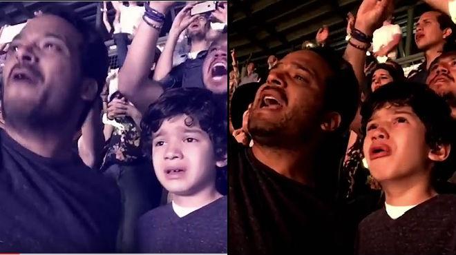 L'emoció del nen durant el concertes pot veureal vídeo gravat per la mare.