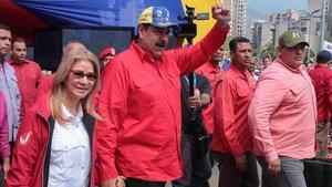 Maduro en la concentración del sábado en Caracas.