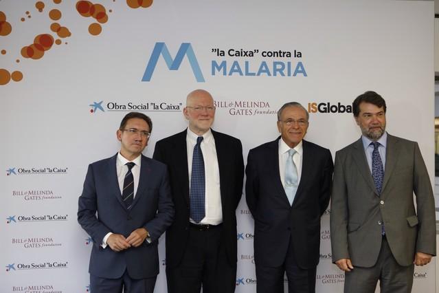 En la imagen, Isidre Fainé, Jaume Giró, Christopher Elias y Pedro Alonso.