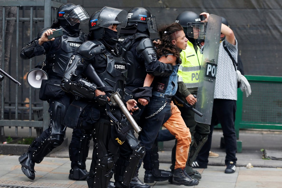 A man is arrested by the police during a protest for a national strike in Bogota Colombia April 25 2019 REUTERS Luisa Gonzalez