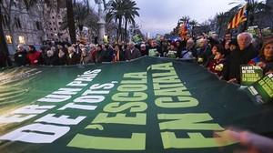 Manifestacióa favor de lescola en català, elfebrerdel 2014.
