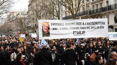 La marcha por la anciana judía asesinada en París acaba con abucheos a Le Pen y Mélenchon
