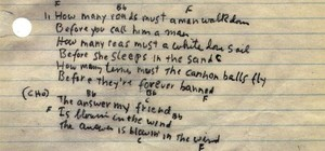 Manuscrito de Blowing in the wind