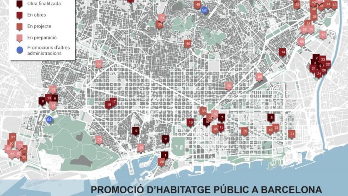 Mapa de promoción de la vivienda pública en Barcelona.