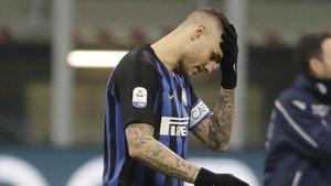 Mauro Icardi en un partido con el Inter.