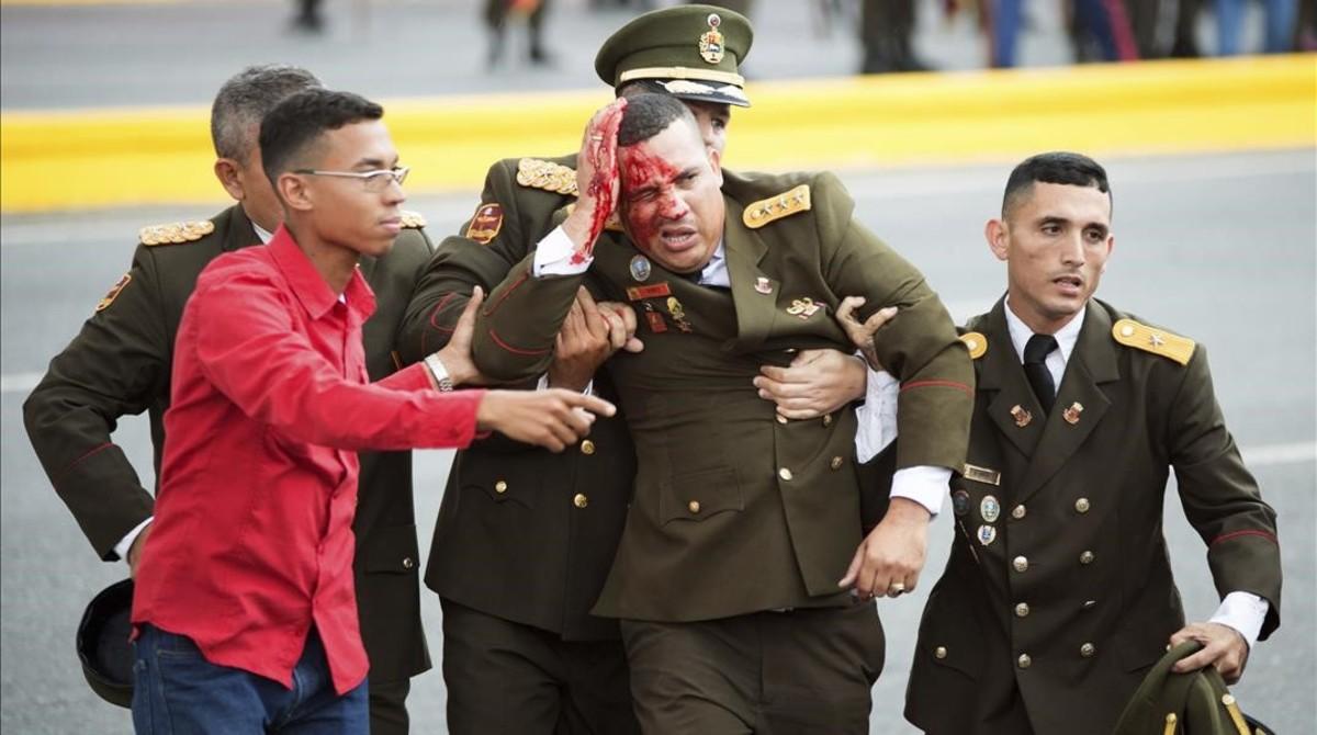 Un militar herido tras el atentado con drones a Nicolás Maduro en Venezuela.
