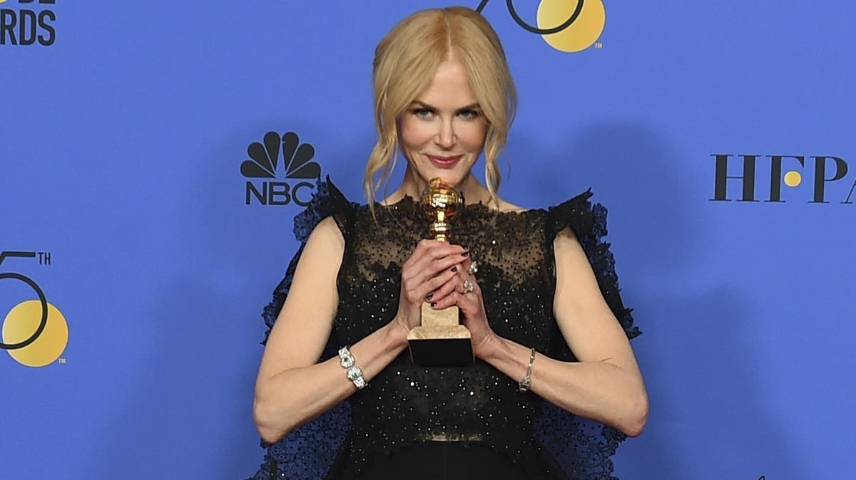 Nicole Kidman, con su Globo de Oro a la mejor actriz en una miniserie por su trabajo en Big little lies