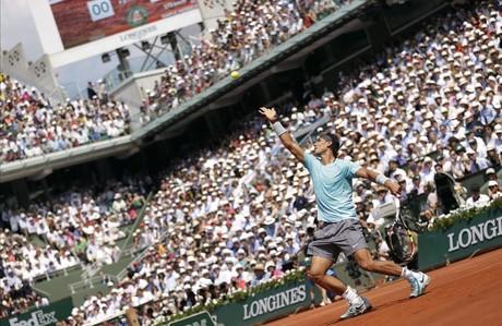Un moment del partit entre Rafa Nadal i Novak Djokovic.