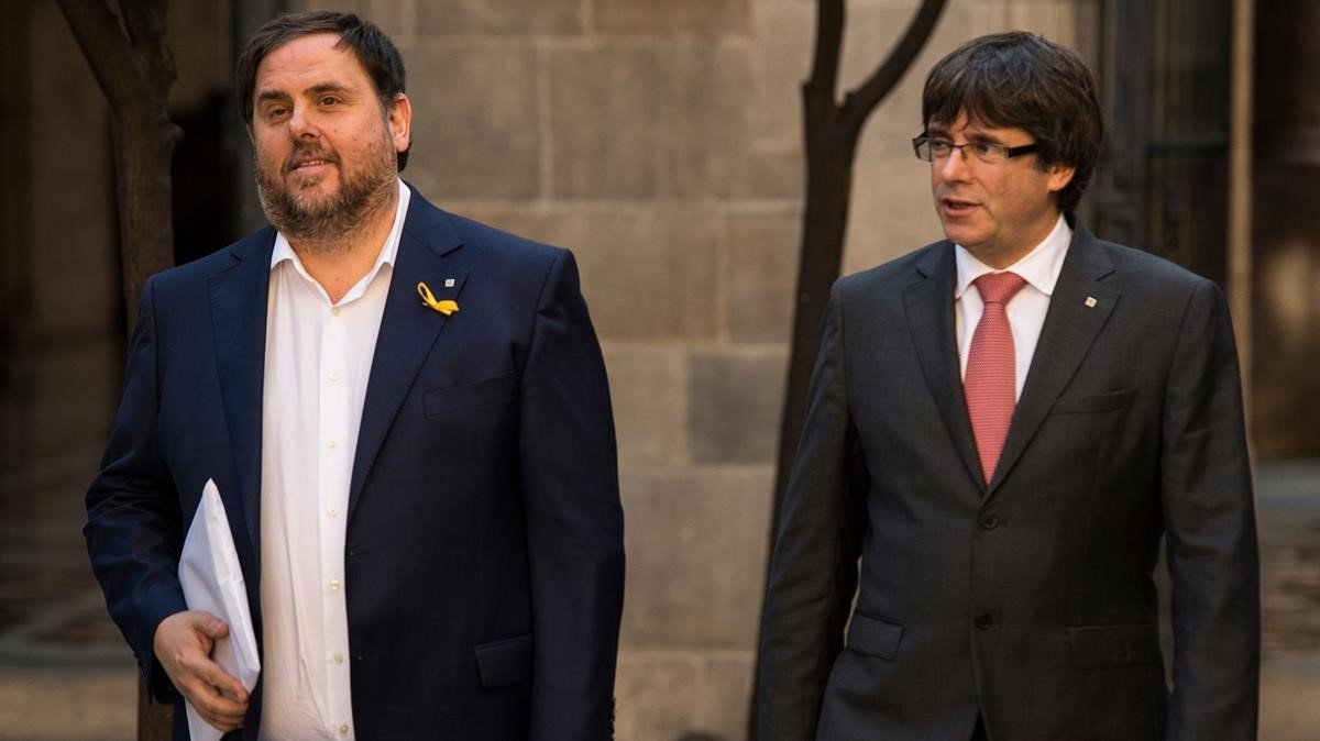 Oriol Junqueras y Carles Puigdemont, en una imagen de octubre del 2017