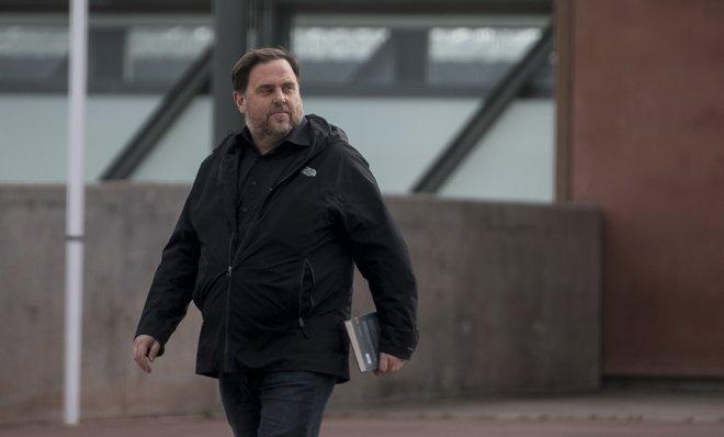 Oriol Junqueras sale de la cárcel de Lledoners para trabajar en la Universitat de Vic de Manresa, el pasado 3 de marzo.