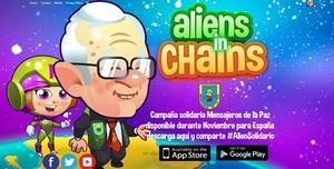 Imagen del juego'Aliens in Chains' en su versión solidaria, de la que es personaje el padre Ángel.