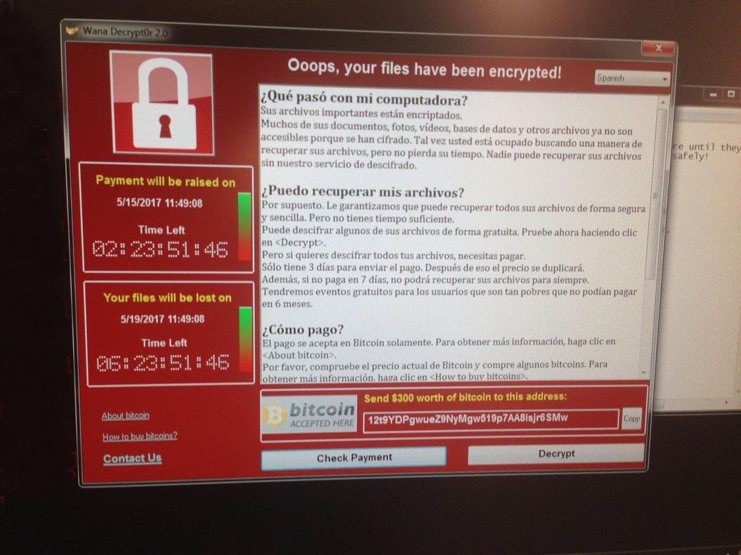 Pantallazo del virus informáticoque ha infectado a empresas del Ibex.