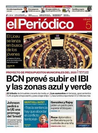 La portada de EL PERIÓDICO del 5 de octubre del 2019
