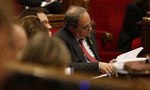 Quim Torra en la sesión de control del Parlament.