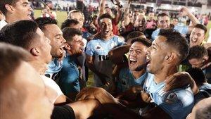 Los festejos de Racing Club, nuevo campeón de la Superliga argentina.
