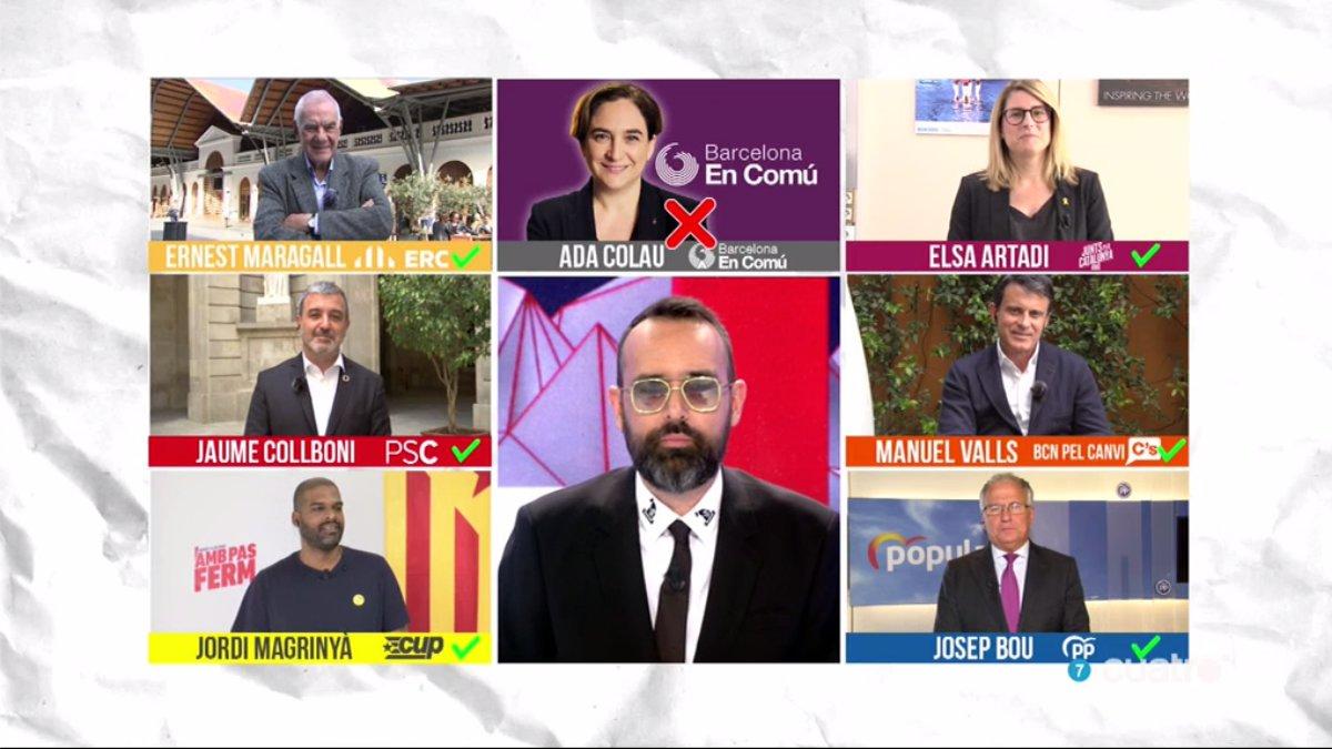 Risto Mejide con los candidatos que participarán en el debate de 'Todo es mentira' sobre Barcelona.