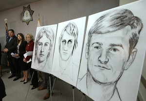 FILE - In this June 15, 2016, file photo, law enforcement drawings of a suspected serial killer believed to have committed at least 12 murders across California in the 1970's and 1980's are displayed at a news conference about the investigation, in Sacramento, Calif. The Sacramento County District Attorney's Office plans to make a 'major announcement Wednesday, April 25, 2018, in the case of the elusive serial killer. (AP Photo/Rich Pedroncelli, File)